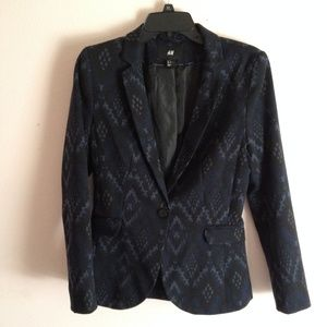 H&M Navy Blue Aztec Print Jersey Blazer